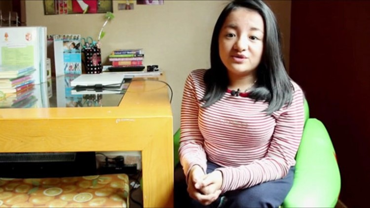 Nguyễn Phương Anh phát biểu trong đoạn clip do UNICEF thực hiện - Ảnh chụp từ clip