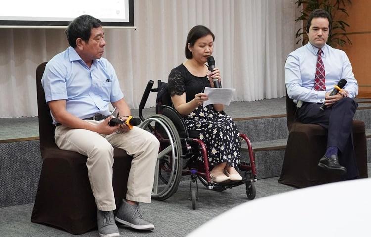 Trao đổi về việc giám sát việc thực thi Điều 27 của Công ước Liên hợp quốc về quyền của người khuyết tật. (Ảnh: PV/Vietnam+)